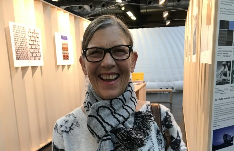 Ulrike Stotmeister sporting a scarf gift from last year's collaboration Architect, Sam Jacob with the internationally standardised motive of