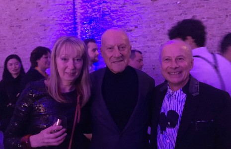 Sto partners Richard and Lynne Bryant of Arcaid images get the chance of a selfie with Lord Norman Foster